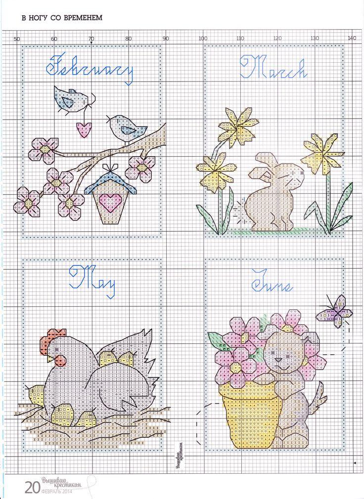 календарь из вышиваю крестиком, март 2014. Там две части, первая в более раннем номере была
