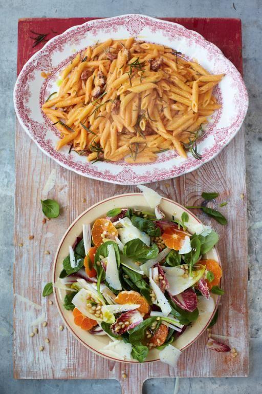 Chorizo carbonara with catalan market salad   Jamie Oliver   Food   Jamie Oliver (UK) - http://www.jamieoliver.com/recipes/pasta-recipes/chorizo-carbonara-with-catalan-market-salad