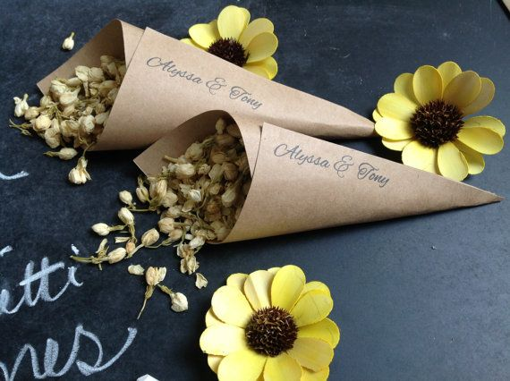 Instead of Rice.....Recycled wedding confetti cones with dried jasmine flowers