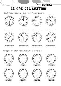 Risultati immagini per schede orologio seconda elementare