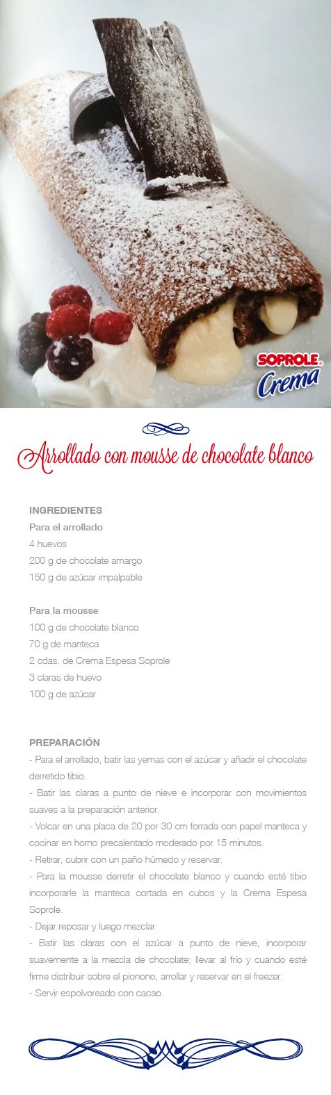 Arrollado de Mousse de Chocolate Blanco