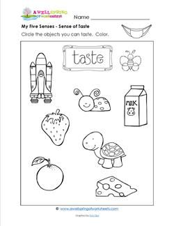 Here's another one of the five senses - the sense of taste. Look at the pictures & circle the items you can taste. What do they taste like? Yummy or yucky?