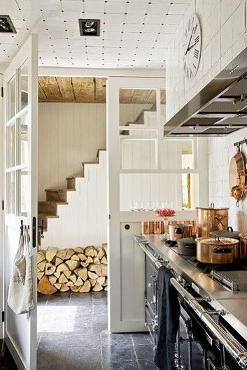 country kitchen with copper pots
