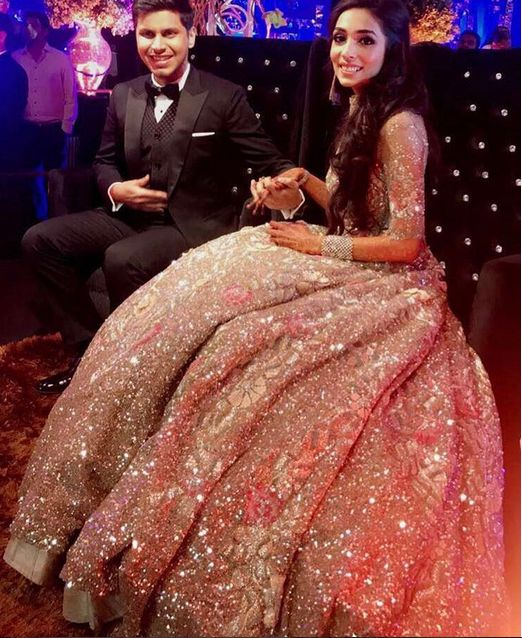 Our Bride Tanya In Manish Malhotras Designed Gown On Her Reception Day