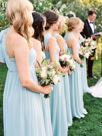 Sky blue dresses: http://www.stylemepretty.com/2015/04/03/elegant-brooklyn-botanical-garden-summer-wedding/ | Photography: Trent Bailey - http://www.trentbailey.com/