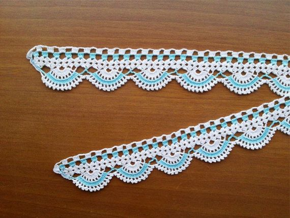 Towel Edge Teal/Mint and White Lace Edge by CuteTraditonalThings