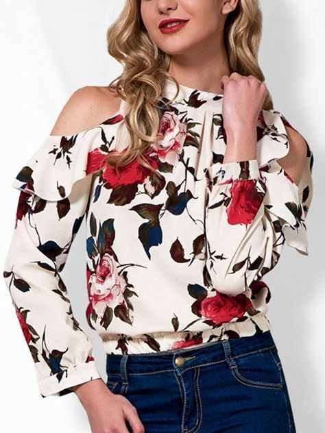 38f1d0b13a291f Floral Print Cold Shoulder Blouse in 2019 | Cute outfits chuyita ...