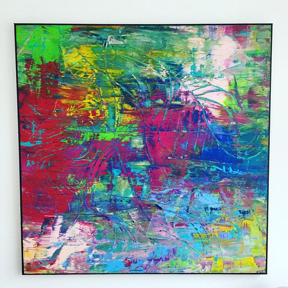 Original Acrylic On Canvas, Modern Abstract Art, Large Format, XL, Hand  Painted Decoration, Name: Djungle, Color Red, Green, Blue, Yellow