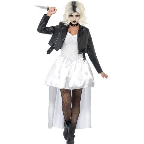 Bruid van Chucky kostuum voor dames, bekend van de film Childs Play. Dit Bruid van Chucky kostuum voor dames bestaat uit het jasje, de jurk en de choker.