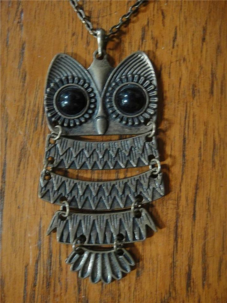 #OWL #pendant and chain #necklace bronze bird vintage wisdom 9x4cm 60cm chain Expires 07 May, 2014