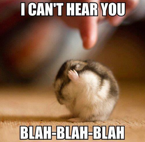 I can't hear you. Blah-Blah-Blah