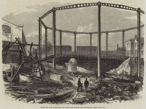 Image result for 9 elms gasworks after explosion Ruins of the Gasworks at Nine-Elms after the Explosion. Illustration for The Illustrated London News, 11 November 1865.