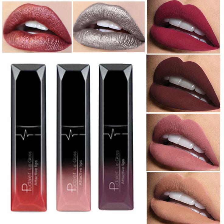Marca de maquillaje de 2017 colores cosméticos brillo de labios de larga duración pigmento metálico sexy red lip tint terciopelo mate nude lápiz labial líquido