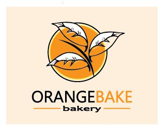 orange bake bakery Logo design - three hidden hot bread in the logo, inside the leaves. Price $400.00
