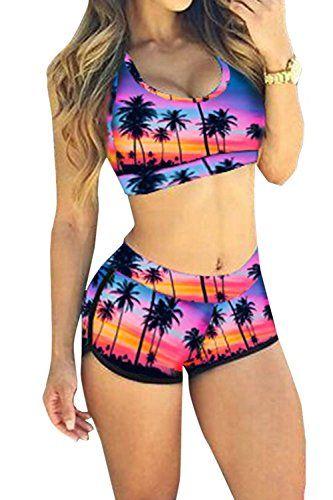 Bandage Print Sport Bathing Suit Print Boyleg High Neck Crop Top Bikini Swimsuit *** Find out more details @ http://www.amazon.com/gp/product/B01DBOCYZU/?tag=wwwmytravel-20?gh=290716224313