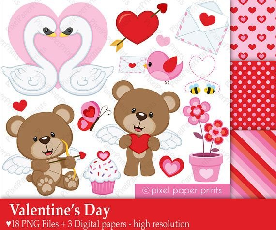 Valentine's Day - Digital paper and clip art set
