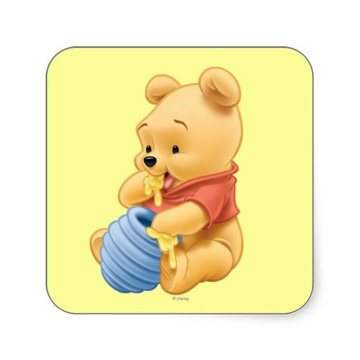 Winnie the Pooh | Baby Pooh Eating Honey Square Sticker ...