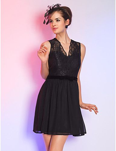 Cocktail Party/Holiday Dress - Black Plus Sizes A-line V-neck Short/Mini Lace/Chiffon – CAD $ 138.99