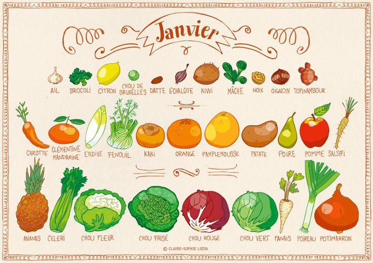 Calendrier des fruits et légumes de janvier par pissenlit-au-jardin.blogspot.fr