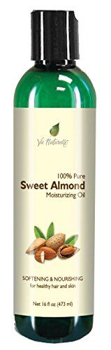 Sweet Almond Oil for Skin, Hair, Massage, and Cooking - 100 % Pure Hexane Free - No Fillers, Dyes or Artificial Ingredients of Any Kind - 16 Fl Oz * Insider's special offer that you can't miss : Baking Ingredients