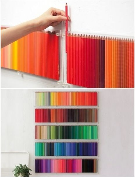 art pencil storage + display...perhaps only artists/designers will think this is awesome - though for me it would be a perpetual state of taking them *all* off the wall and then having to put them all back :)
