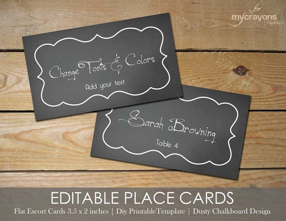 Editable Place Cards By Mycrayonspapeterie Printable Card Template Chalkboard Wedding Decor