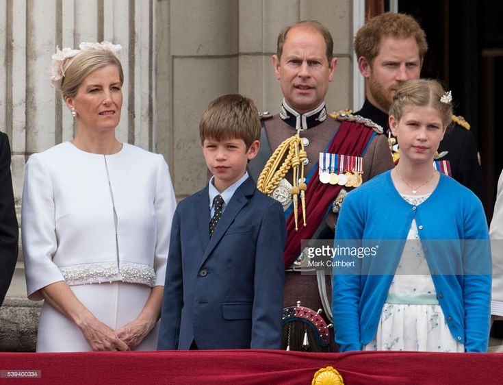 Sophie, Countess of Wessex and Prince Edward, Earl of Wessex with James Viscount Severn and Lady Louise Windsor during the Trooping the Colour, this year marking the Queen's 90th birthday at The Mall on June 11, 2016 in London, England. The ceremony is Queen Elizabeth II's annual birthday parade and dates back to the time of Charles II in the 17th Century when the Colours of a regiment were used as a rallying point in battle.  (Photo by Mark Cuthbert/UK Press via Getty Images)
