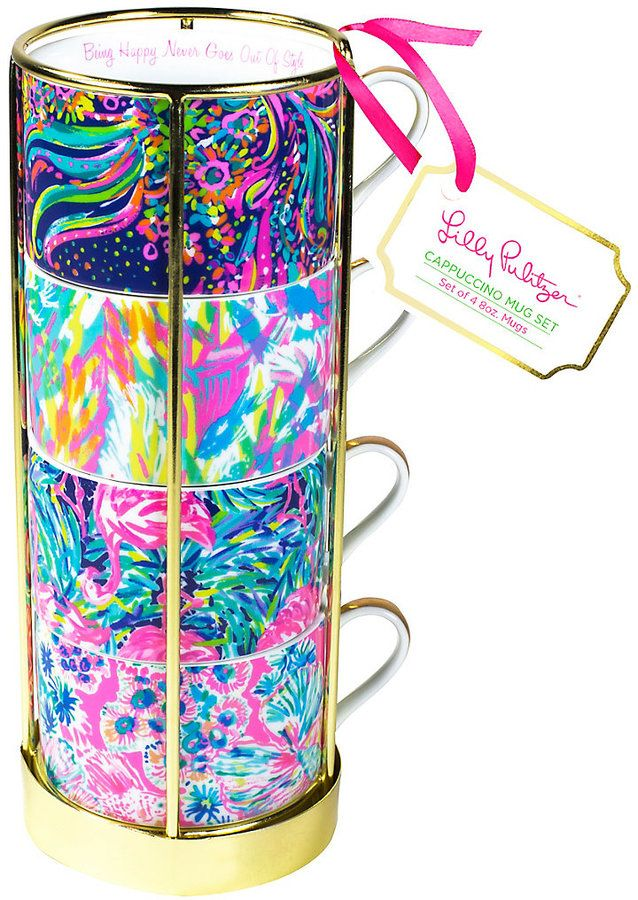 Lilly Pulitzer Cappuccino Mug Set      Too much is NEVER enough...why have one printed mug when you can have FOUR? This Cappuccino Mug Set is a coffee lovers dream come true. Affiliate