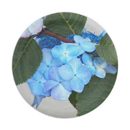Blue Lacecap Hydrangea Floral Paper Plate - kitchen gifts diy ideas decor special unique individual customized