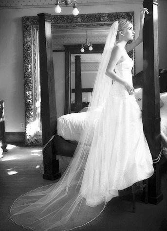 Wedding veil - Chapel length  bridal veil - 90 inches long with a beautiful pencil edge. $65.00, via Etsy.