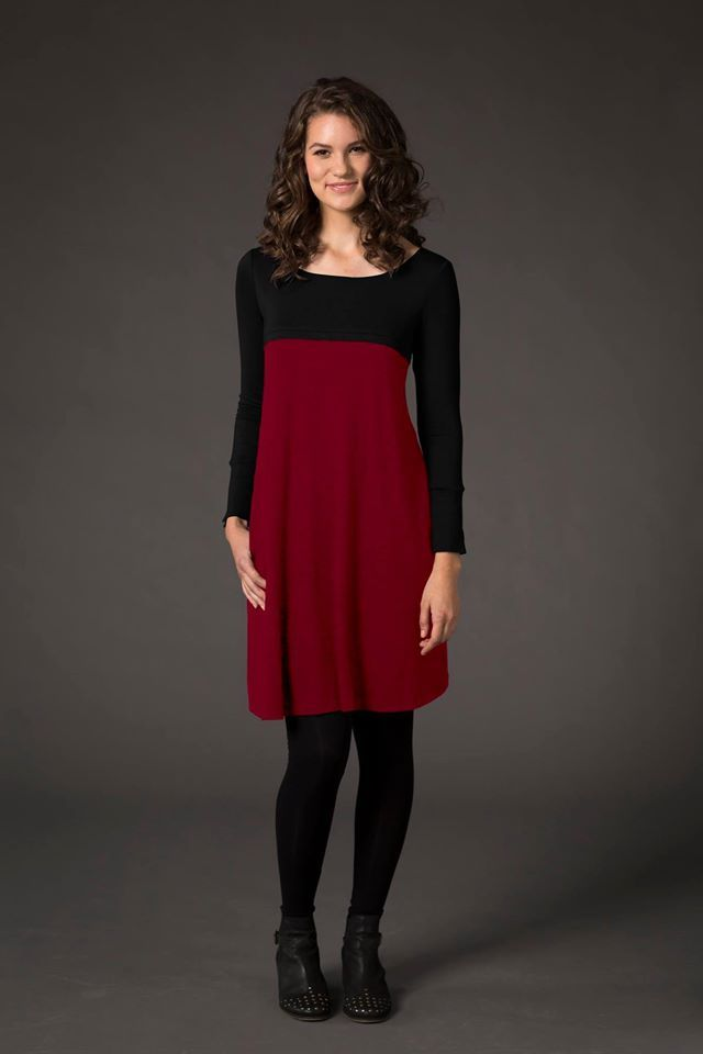 Laila & Spot Long Sleeve Dress in Black/Red, $60  FEATURES b/f access through a 2 way zip, very useful side pockets, stylish cut & flattering fit. Perfect to pair with leggings and boots in winter.   http://lailaandspot.com.au/catalog/productdetails.aspx?ProductID=294