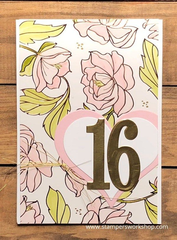 16    Create a pretty birthday card using the gorgeous Springtime Foils Specialty DSP.    #stampersworkshop #stamping #stampinup #diecutcards #cardmaking #papercrafts #springtimefoils