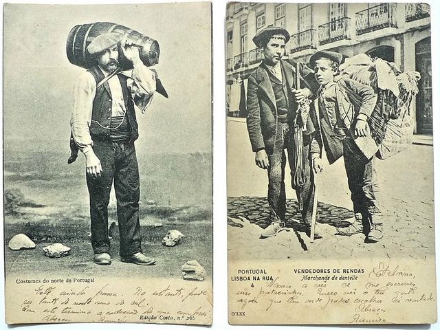 Colecção Costumes de Portugal Azeiteiro do Norte Vendedores de Rendas, Lisboa 1904 Fofógrafo desconhecido