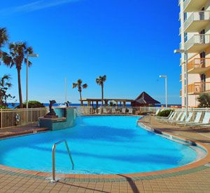 Pelican Beach Resort in Destin, Florida offers lots of perks for guest of on-site mgmt. and has seasonal kid activities, tiki bar, meeting facilities, and gorgeous views of the beach and Gulf of Mexico!