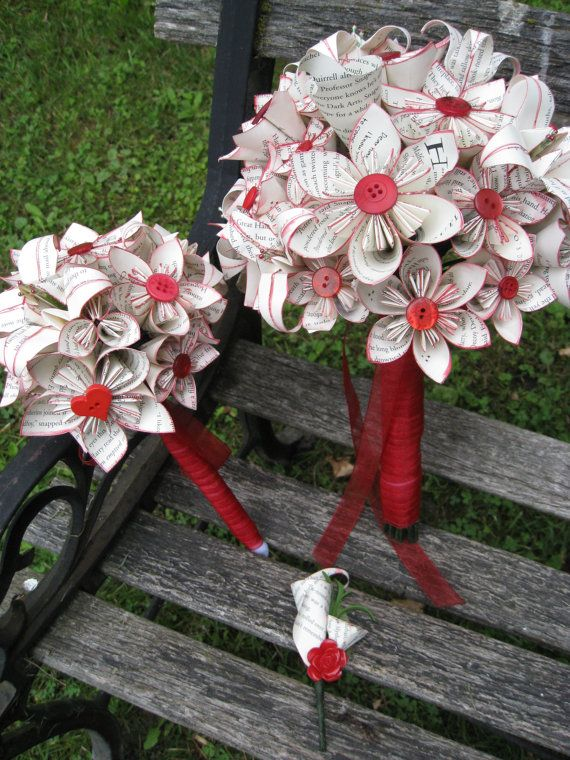 Custom Paper Flower Wedding Bouquets. You Pick by TreeTownPaper