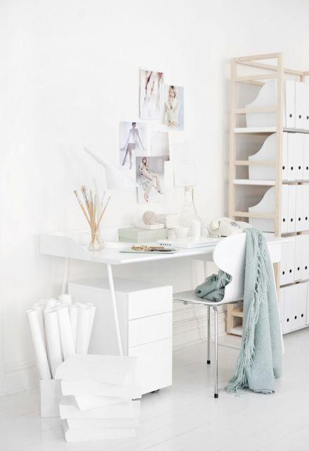 all white studio-office