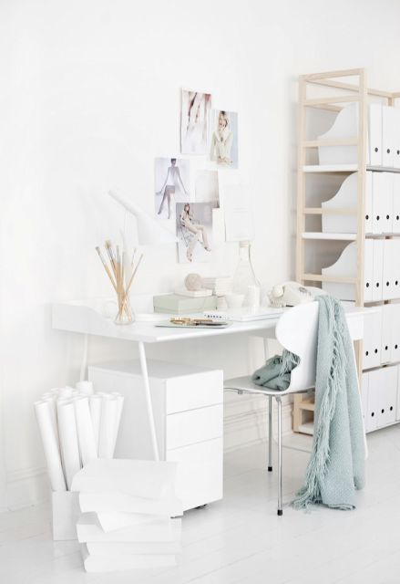 all white studio-office