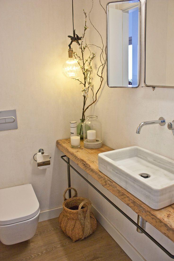 A Natural Neutral Sunny Duplex Penthouse In Barcelona Wooden Bathroom Vanity Counter Top Sink Bathroom Diy Bathroom Decor