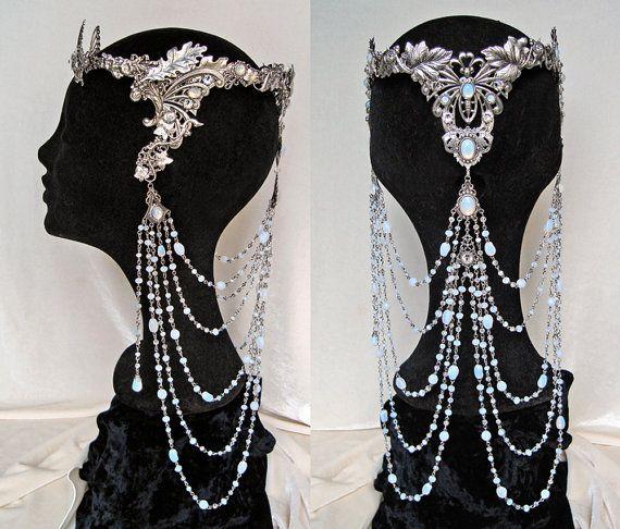 Couronne Elfique Mariage Arwen Diadème Tiare Blanc Opale Galadriel Papillon Médiéval Renaissance Pierre de Lune - Sur Commande Uniquement