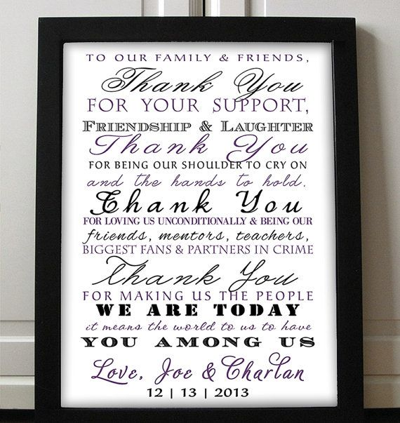 Typography Thank You Poster Wedding Printable