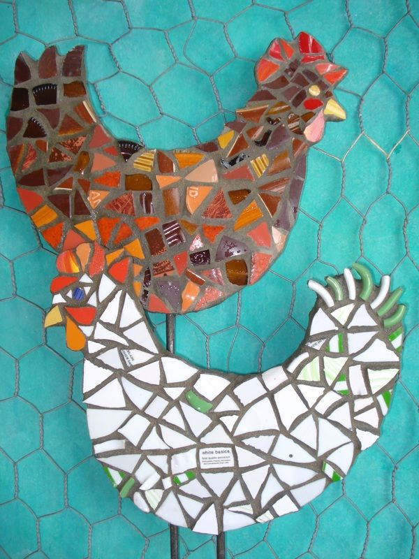Fun mosaic chickens