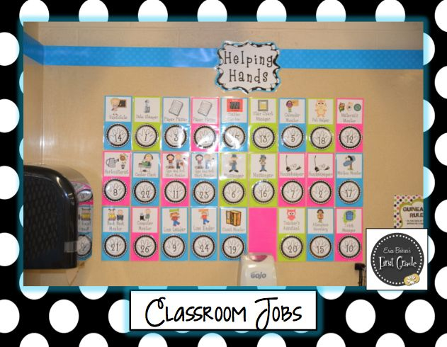 Classroom Job Display. I like how she uses the the laminated numbers instead of clothes pins.
