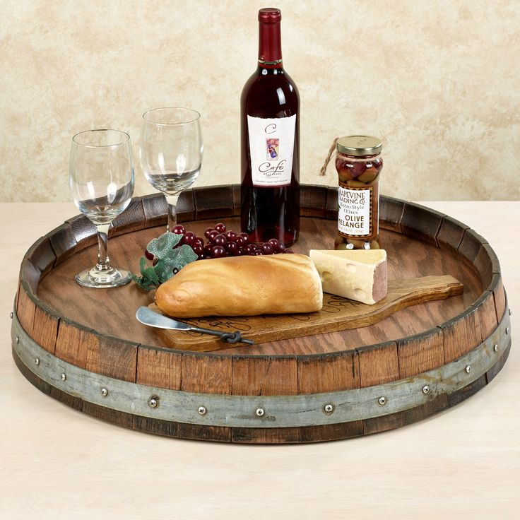 Wine Barrel Lazy Susan Walnut
