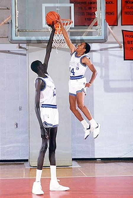 "Spud Webb (5'3"") blocks Manute Bol (7'8"") #NBA"