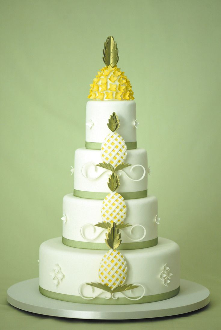 A pineapple #wedding cake, photography by Dave Miyamoto - for a Pineapple Wedding Theme wedding