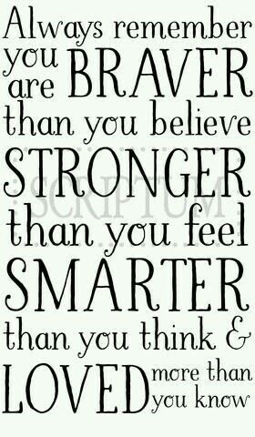 Always remember: You're braver than you believe, stronger than you feel, sma… – p