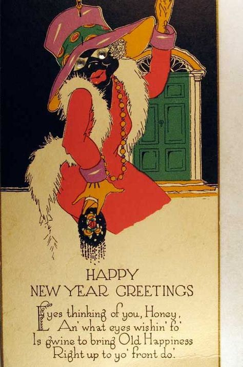 Happy New Year card Cherryland Auctions - Postcard Auction