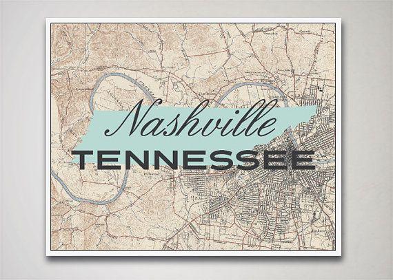 Nashville Print Tennessee Print Nashville Map by AGierDesign
