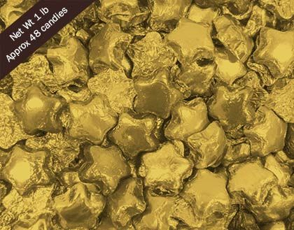 Bulk Chocolate Candy: Madelaine Milk Chocolate Stars in Gold Foil Front