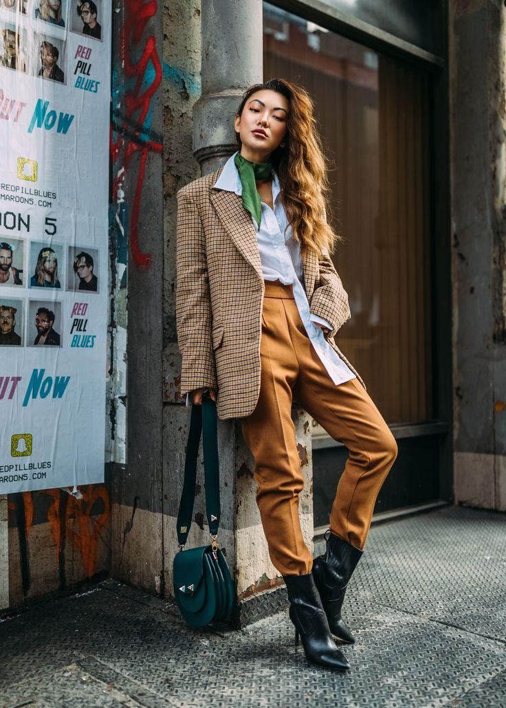 Winter Instagram Outfits - Plaid Blazer Outfit // Notjessfashion.com // Plaid fashion trend, plaid blazer, plaid blazer street style, green neck scarf, neck scarf outfit, salar bag, green handbag, brown monochromatic outfit, fall outfit ideas, new york fashion blogger, asian blogger